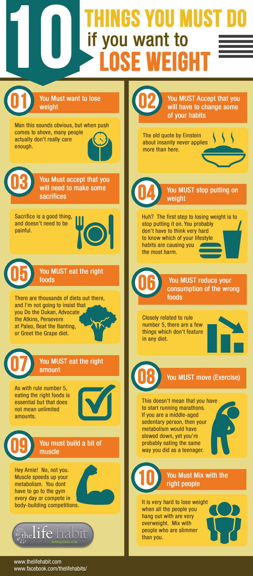 10 things you must do if you want to lose weight - infographic